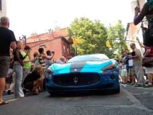 The beautiful Maserati Grand Turismo finished in chrome blue.