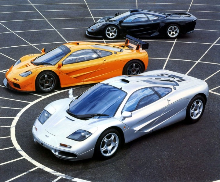 The McLaren F1 LM (middle) surrounded by the F1 (Silver) and F1 GT LongTail (Black)